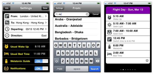Aplicativo Jetlag Genie para iOS
