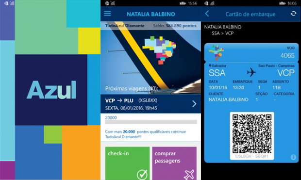 Atual layout do aplicativo Azul Mobile